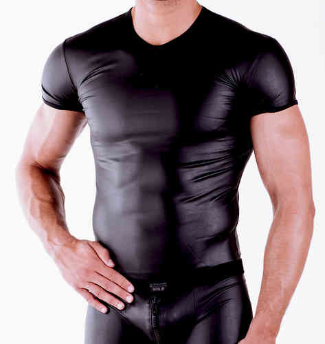 Leatherlike Roundneck-Shirt black