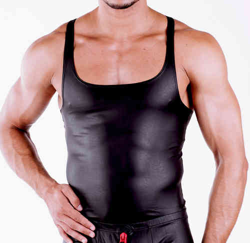 Leatherlike Muscle-Shirt schwarz