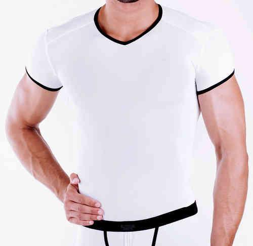 Micro-Basic V-Shirt weiss-schwarz