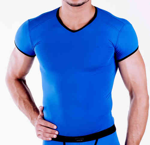 Micro-Basic V-Shirt blue-black
