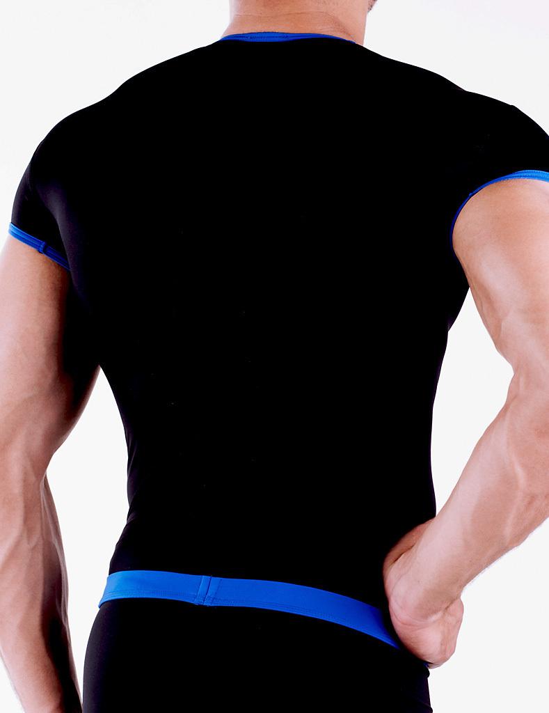 Micro-Basic V-Shirt schwarz-blau