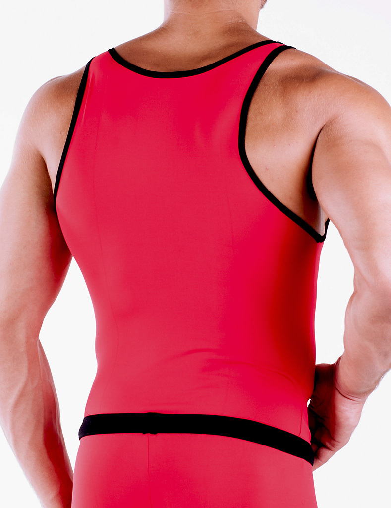 Micro-Basic Athletik Shirt rot-schwarz