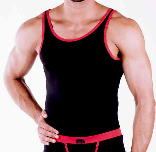 Micro-Basic Athletik Shirt schwarz-rot