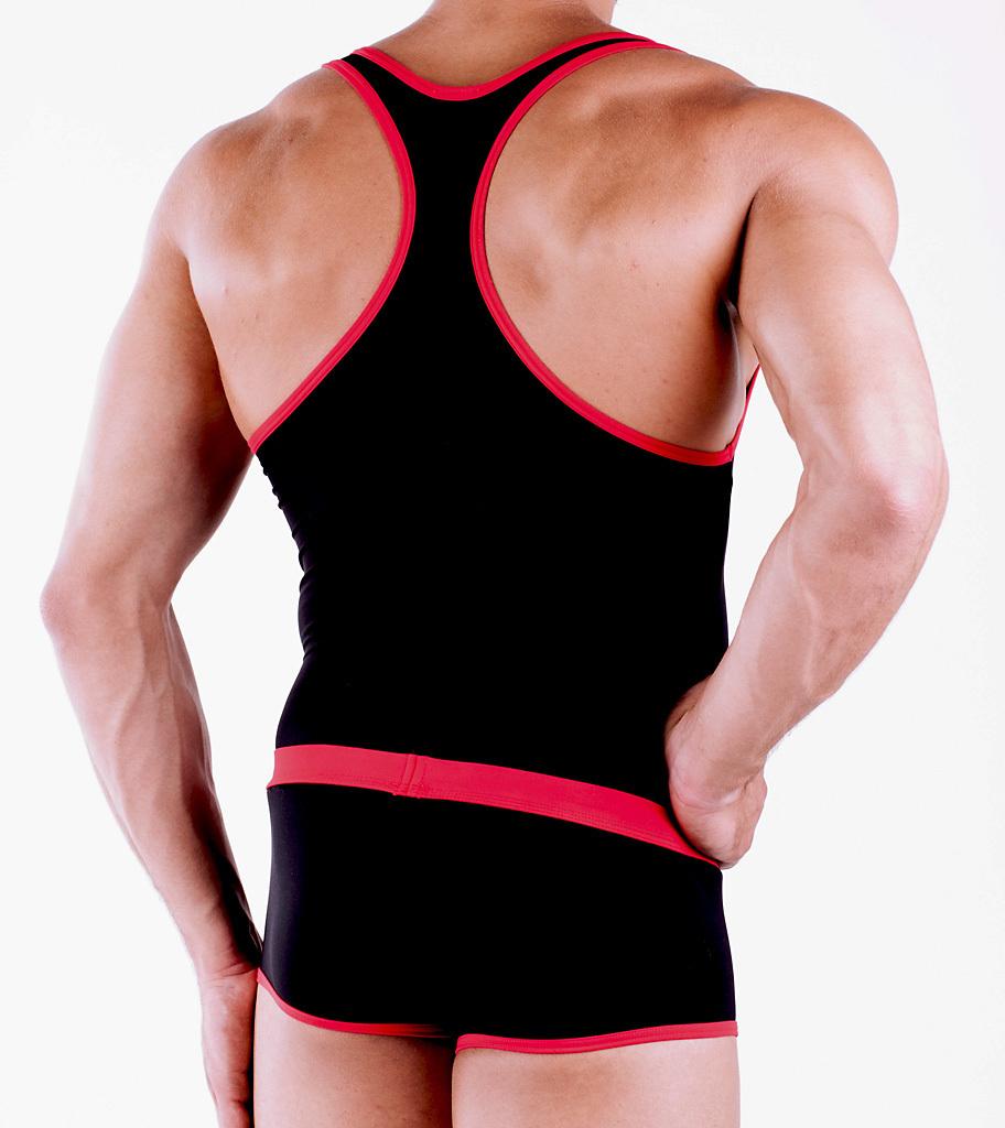 Micro-Basic Muscle Shirt schwarz-rot