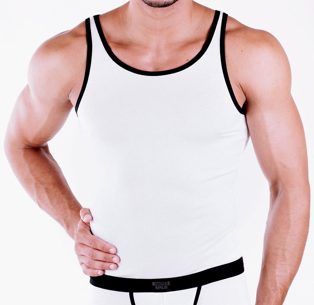 CottonRipp Athletic Shirt weiss-schwarz