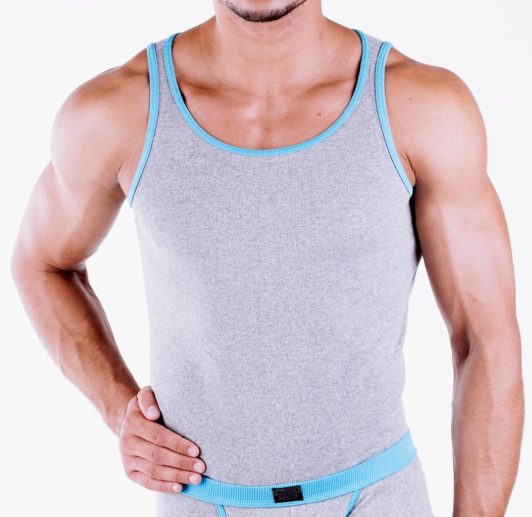 CottonRipp Athletic Shirt heather gray turquoise