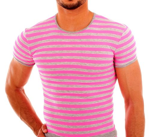 Stripes Shirt grau-pink