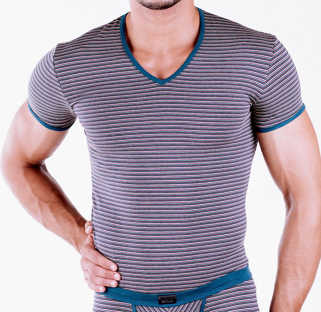 Ringel V-Shirt colourmix-petrol