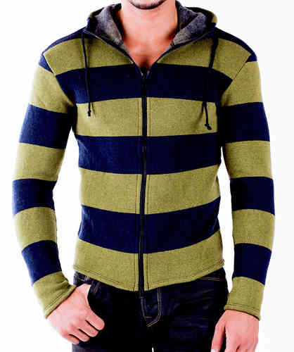 Hoodie Wool green-navy zip black