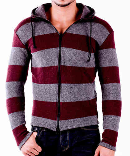 Hoodie Wool gray-bordeaux zip black