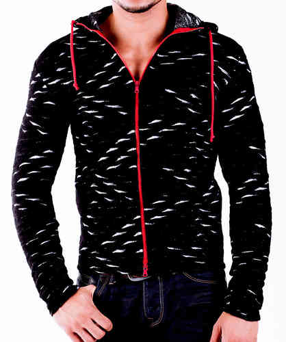 Hoodie Wool black-white zip red