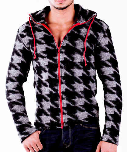 Hoodie Wool black zip red