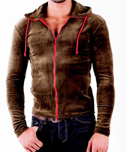 Hoodie Cotton olive zip red