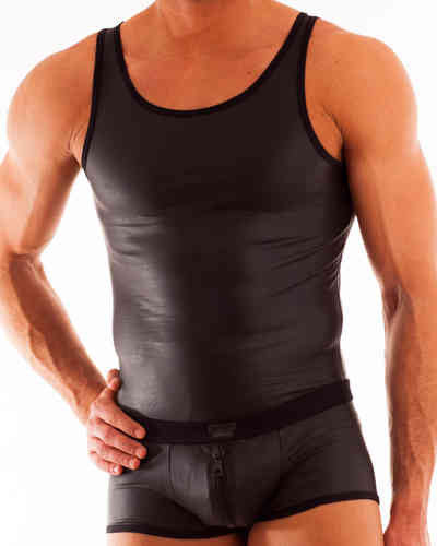 Leatherlike-Micro Athletic Shirt schwarz