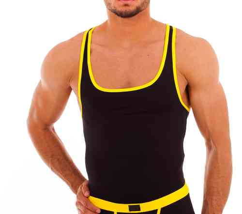 Micro-Basic Muscle Shirt black-yellow