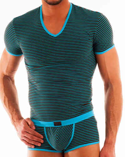 Stripes V-Shirt brown-turquoise