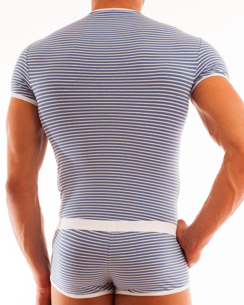 Stripes Shirt blaugrau-weiss