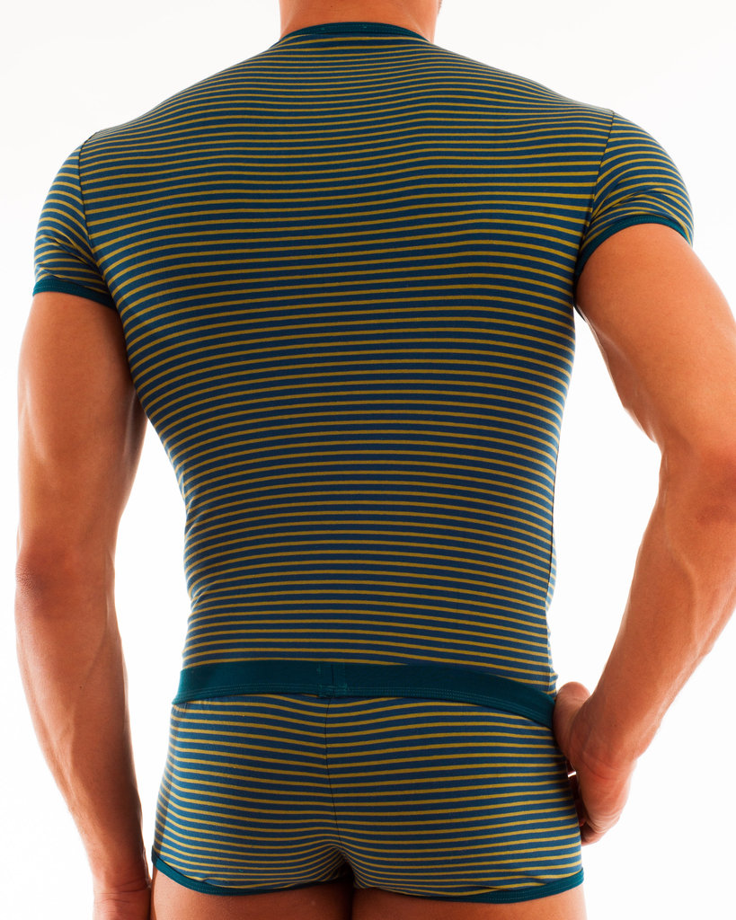 Stripes V-Shirt petrol-grün
