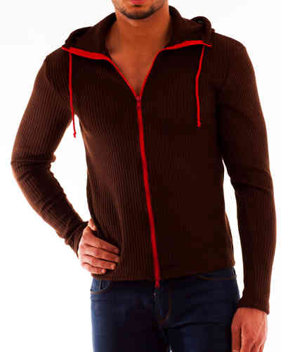 Hoodie Cotton brown zip red