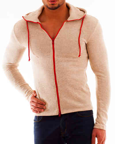 Hoodie Cotton Knit beige Zip red