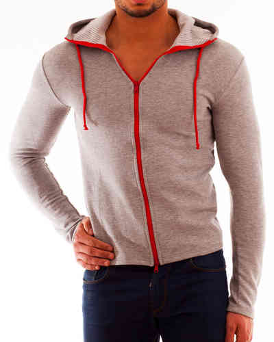 Hoodie Cotton gray-beige Zip red