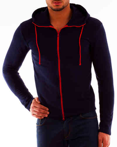 Hoodie Sweater navy Zip red