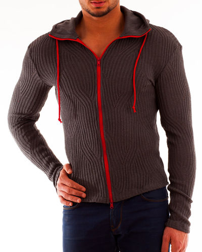 Hoodie cotton rib gray Zip red