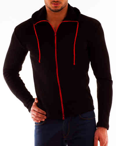 Hoodie cotton rib black Zip red