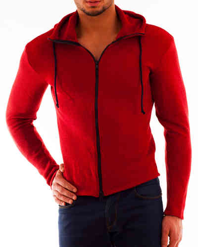 Hoodie Cotton Knit red Zip marine