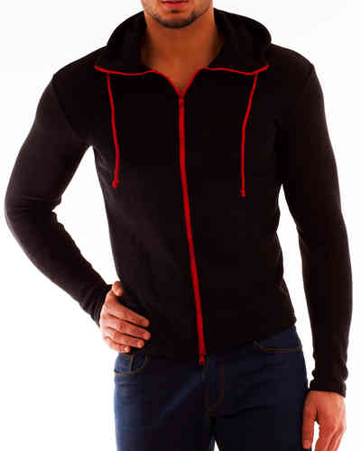 Hoodie Cotton Knit black zip red