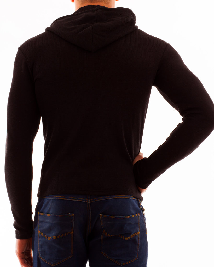 Kapuzenjacke Baumwollstrick schwarz RV rot