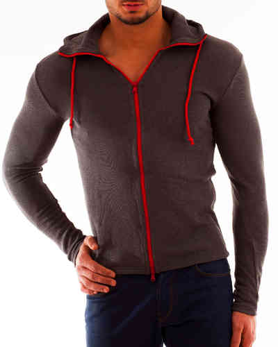 Hoodie Cotton Knit gray zip red