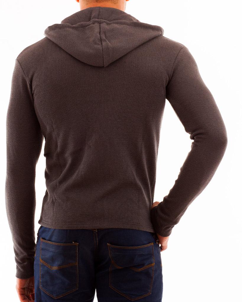 Kapuzenjacke Baumwollstrick grau RV rot