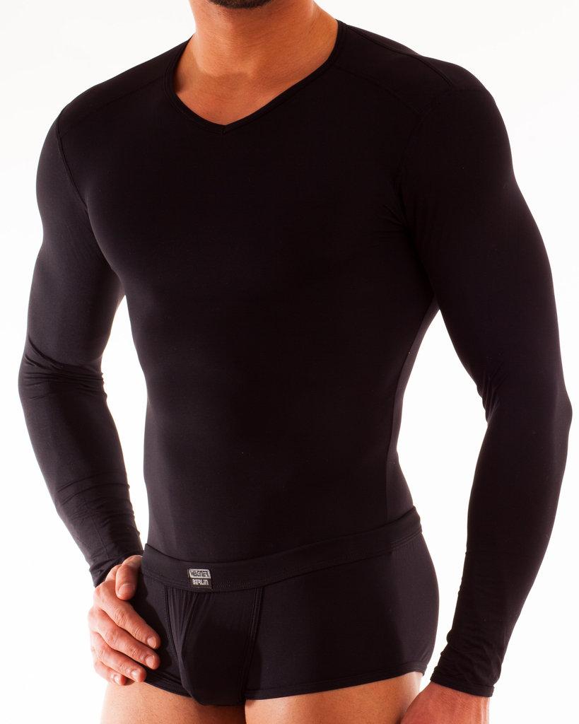 Micro-Basic Langarm Shirt schwarz