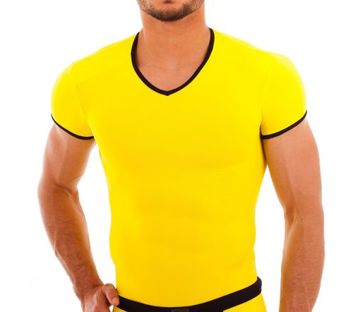 Micro-Basic V-Shirt yellow-black