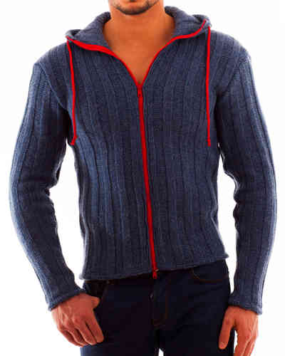 Hoodie wide wool rib zip red
