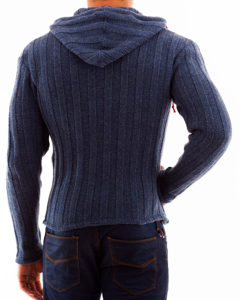 Hoodie wide wool rib zip red