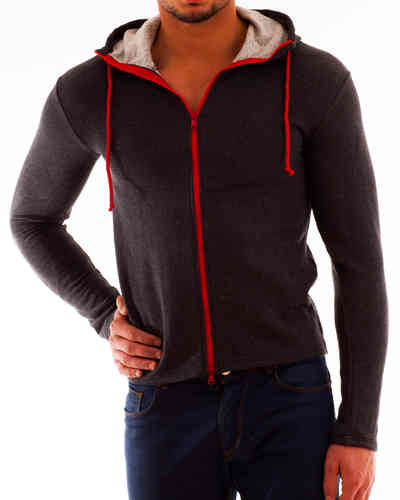 Hoodie Sweater anthracite Zip red