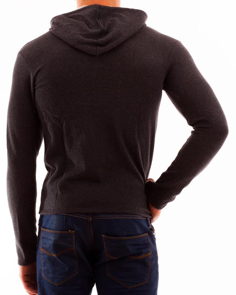 Kapuzenjacke Sweater anthrazit RV rot