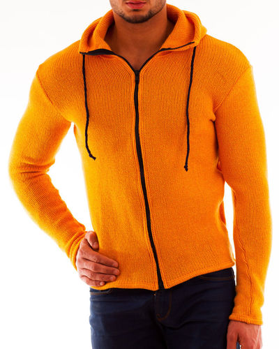 Hoodie slim wool rib orange meliert zip navy