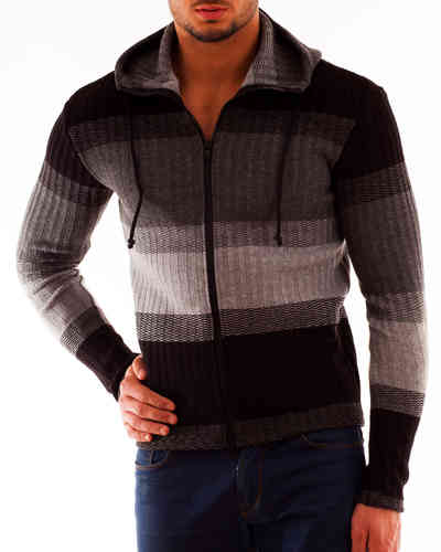 Hoodie wool knitting gray-black zip black