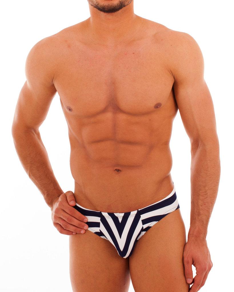 Bade Stripes Slip marine-weiss