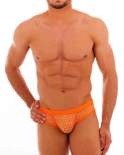 Swimwear Rhomben Action Slip oliv-orange