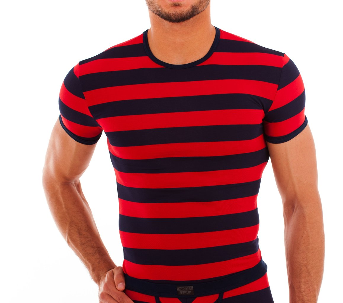 Matrosen round neck-Shirt marine-red wide