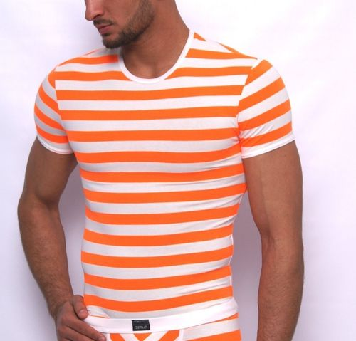 Matrosen round neck-Shirt white-neon-orange