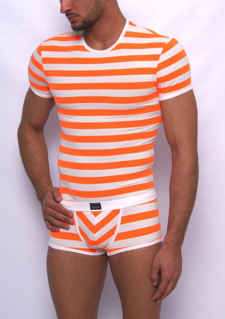 Matrosen round neck-Shirt white-neon-orange