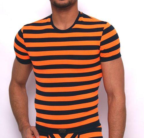 Matrosen Rundhals-Shirt marine-neonorange