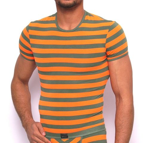 Matrosen Rundhals-Shirt oliv-neonorange
