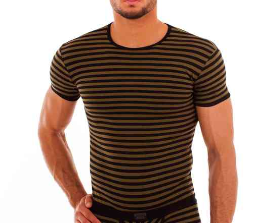 Cotton Stripes Shirt oliv-schwarz