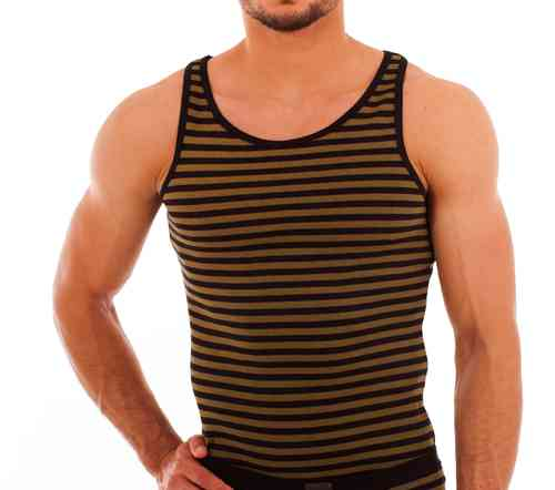 Cotton Stripes Athletic Shirt oliv-schwarz